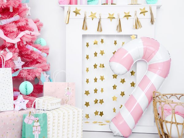 Rose gold candy cane large balloon