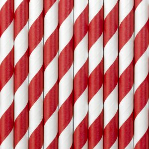 BEAUTIFUL RED PAPER STRAWS, 10 PCK