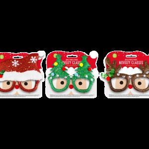 CHRISTMAS NOVELTY GLASSES (3 TYPES)