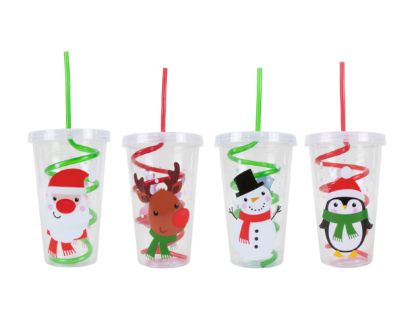 Christmas smoothie cup and straw