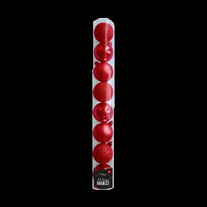 RED BAUBLES 5CM, 8PCK