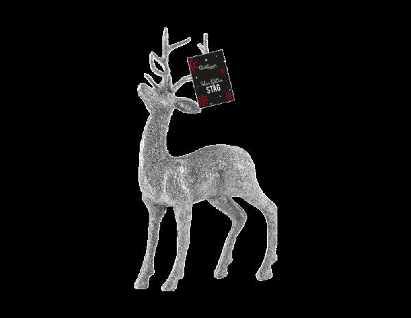 Silver reindeer decoration